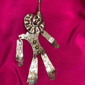 💝Vintage Sterling Silver Handmade Clown Brooch
